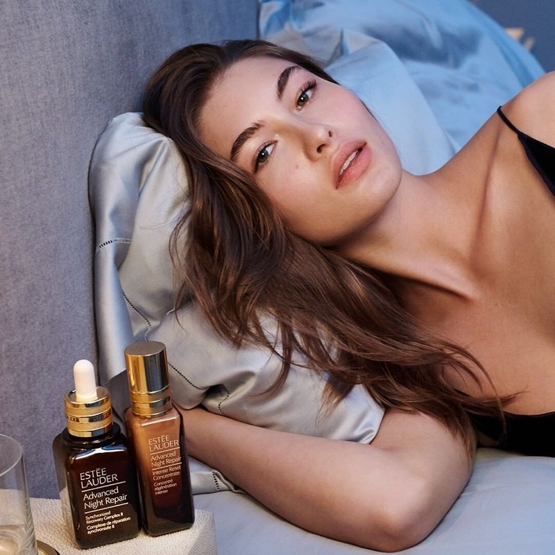 Model Grace Elizabeth fronts Estee Lauder Advanced Night Repair Intense Reset Concentrate advertisement