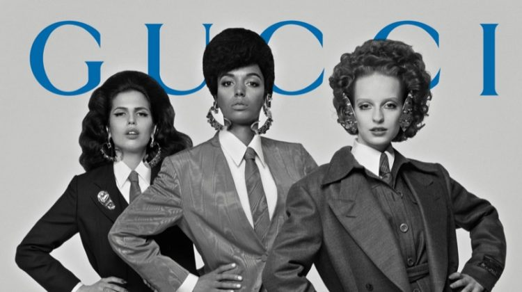 Models suit up in Gucci fall-winter 2019 campaign