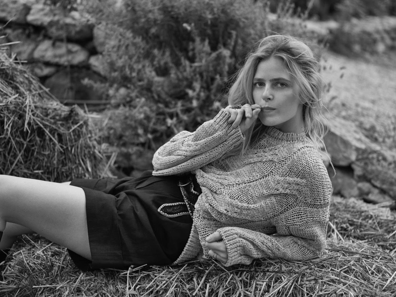 Wearing a sweater, Ines Melia poses in black and white for Massimo Dutti