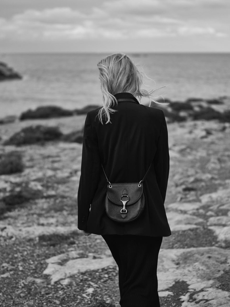 Dressed in black, Ines Melia fronts Massimo Dutti photoshoot