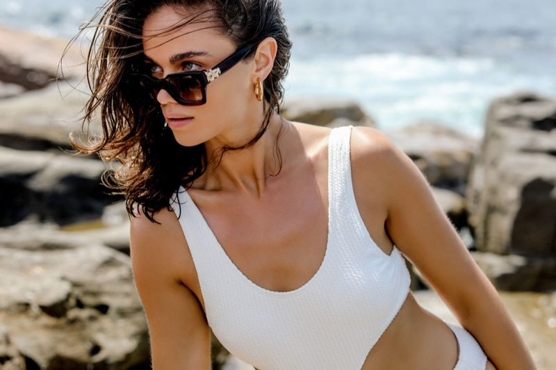 Jena Goldsack poses in Amber Sceats Sofia sunglasses