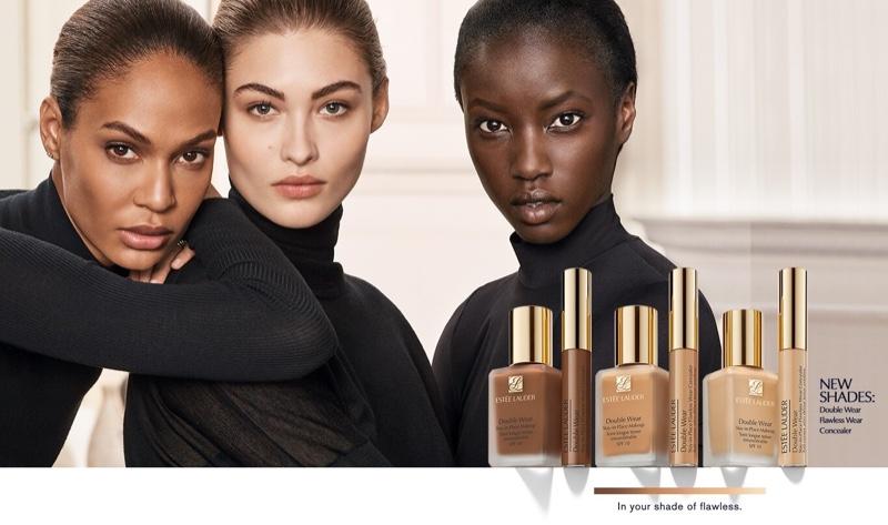 Joan Smalls, Grace Elizabeth and Anok Yai appear in Estee Lauder Double Wear foundation campaign