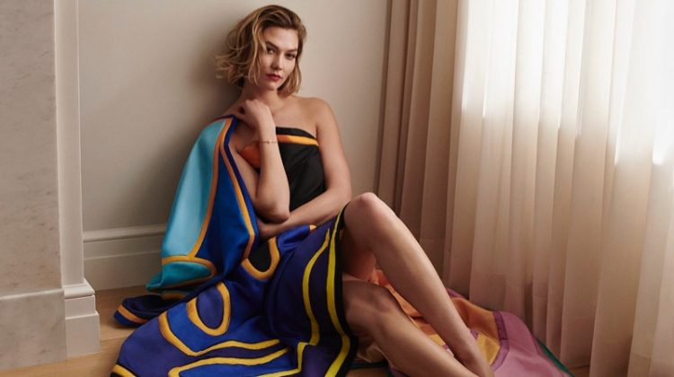 Karlie Kloss poses in Louis Vuitton and Alex Israel scarf collaboration