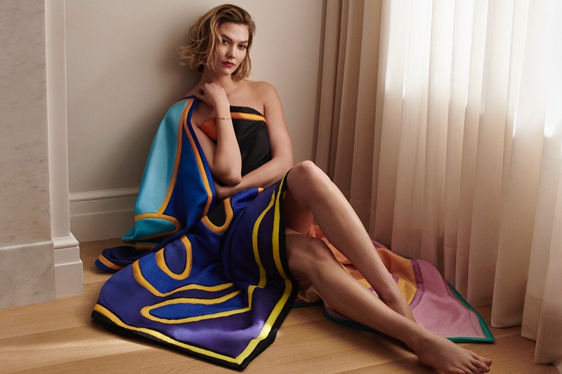 Karlie Kloss poses in Louis Vuitton and Alex Israel accessory collaboration