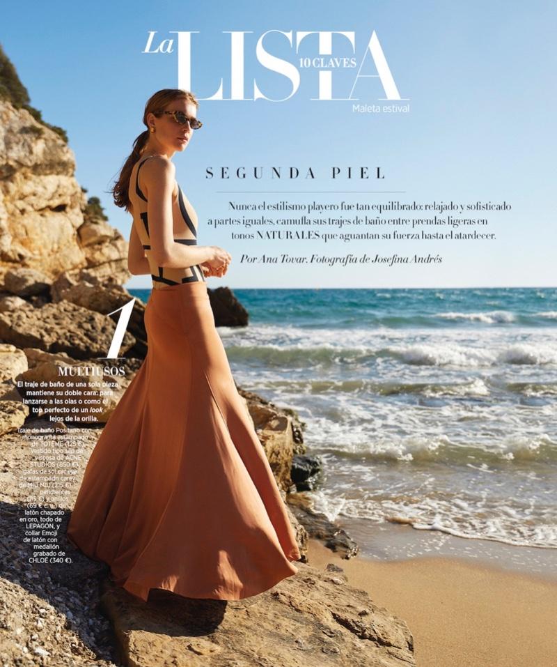Kim Noorda Embraces Beach Fashion for Harper's Bazaar Spain