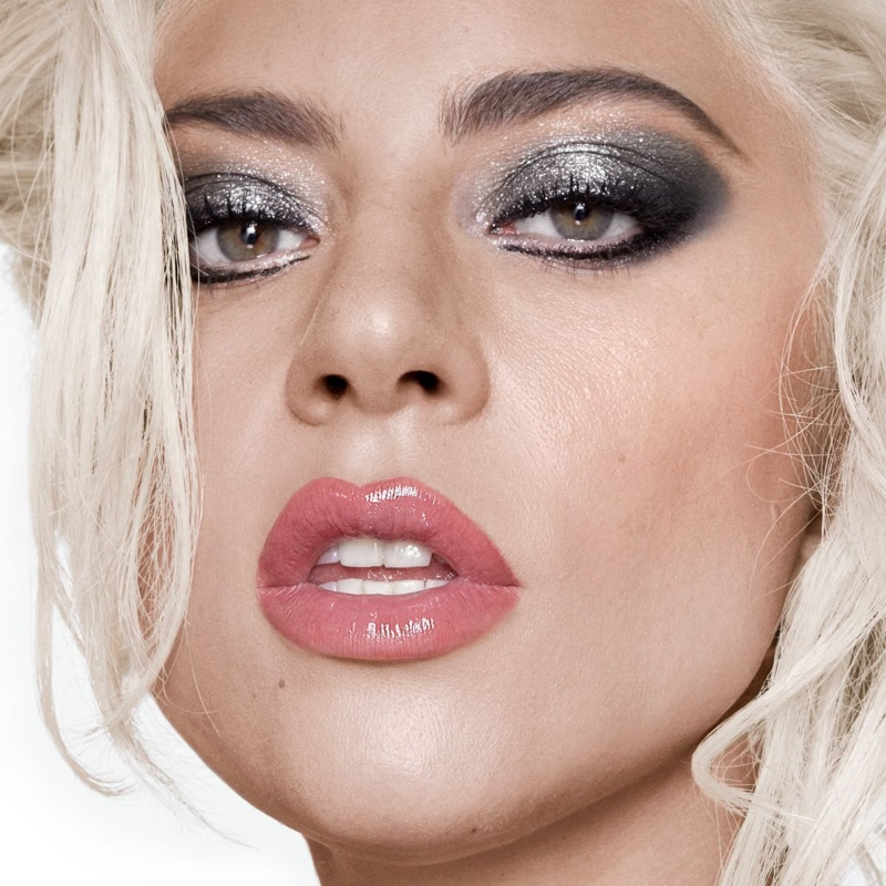 Singer Lady Gaga poses in silver eyeshadow look from Haus Laboratories. Photo: Hannah Khymych