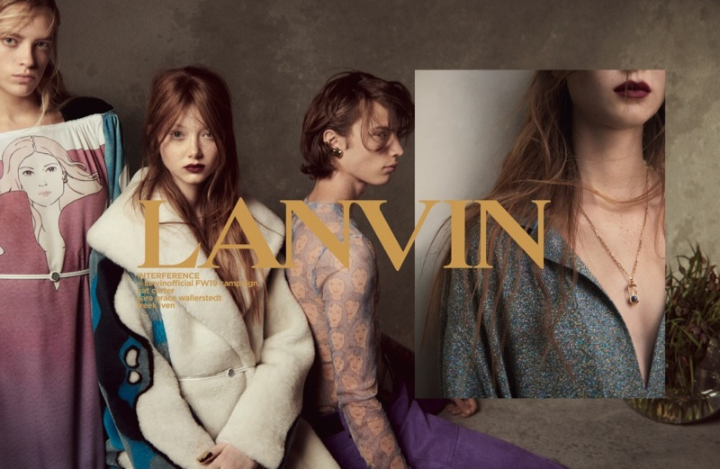 Kat Carter, Sara Grace Wallerstedt and Freek Iven appear in Lanvin fall-winter 2019 campaign