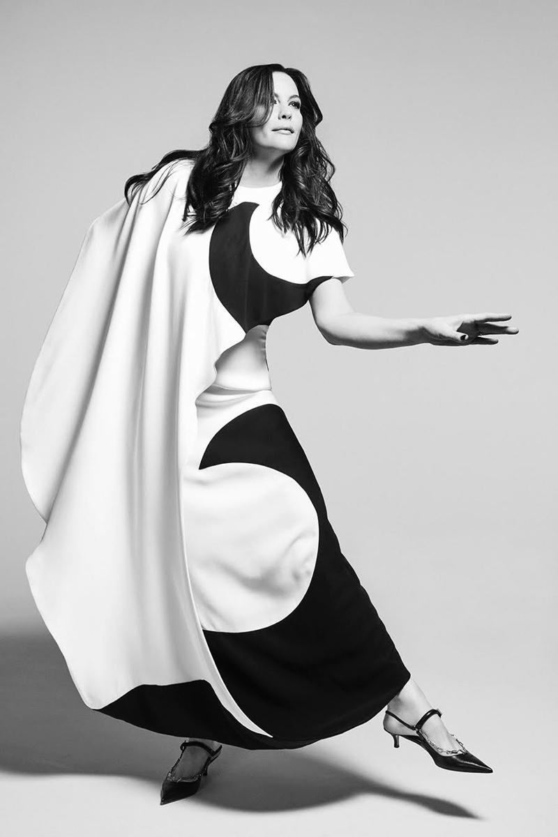 Actress Liv Tyler wears Valentino dress and kitten heels