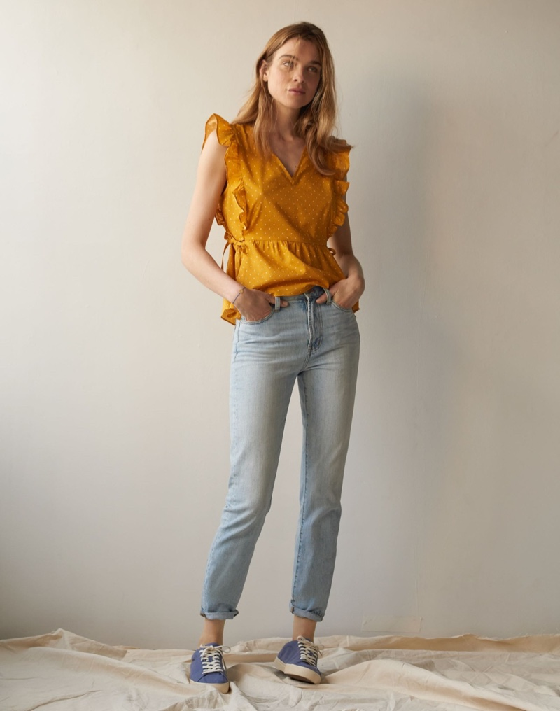 Madewell Side-Tie Ruffle Peplum Top in Polka Dot $78 and The Perfect Vintage Jean in Fitzgerald Wash $98