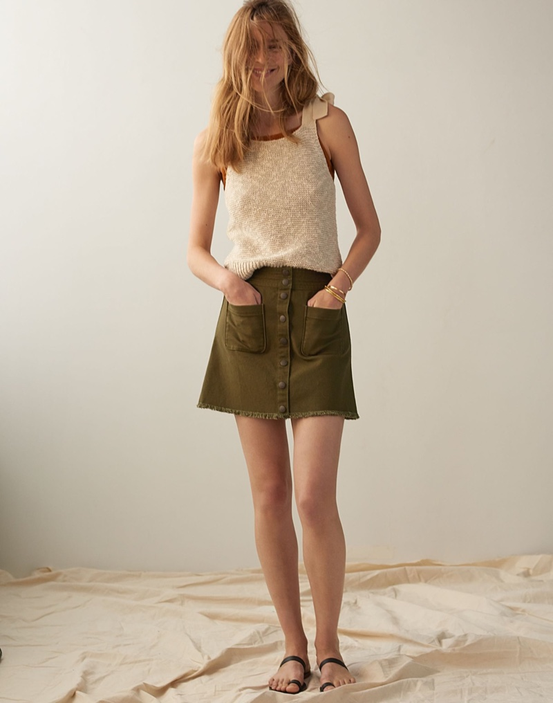 Madewell Highgate Tie-Strap Sweater Tank $69.50 and Raw-Hem A-Line Mini Skirt $68
