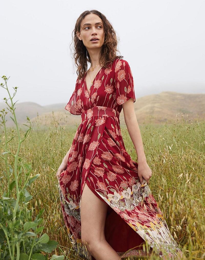 Madewell Tulip-Sleeve Maxi Dress in Tall Sunflowers $158