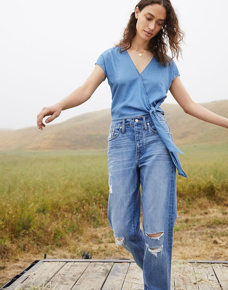 Madewell Denim Short-Sleeve Wrap Top $75 and The Dadjean in Stassen Wash $128
