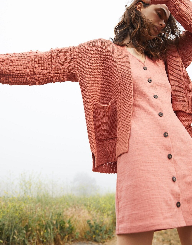 Madewell Bobble Cardigan Sweater $98 and Texture & Thread Puff-Sleeve Dress $95