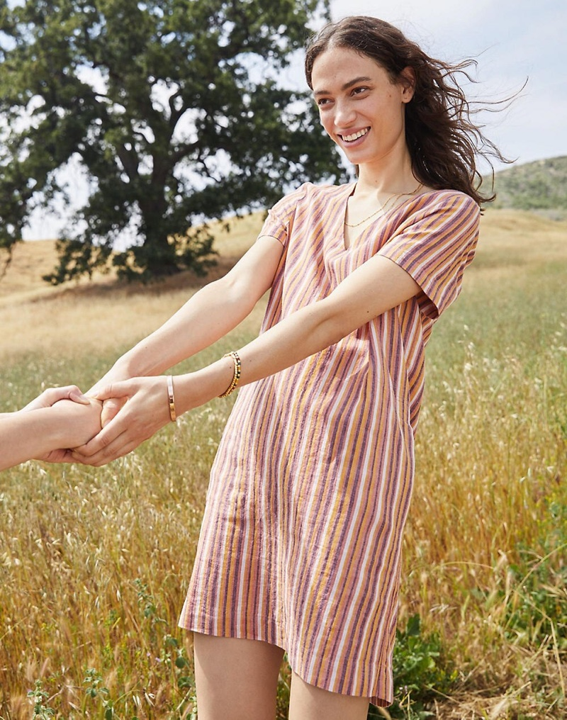 Madewell Button-Back Easy Dress in Rainbow Stripe $118