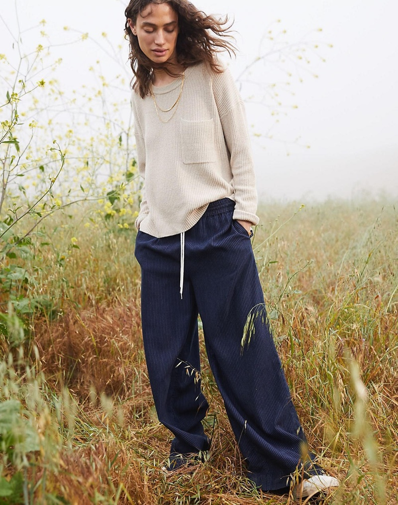 Madewell Thompson Pocket Pullover Sweater $69.50 and Indigo Pull-On Pants $88