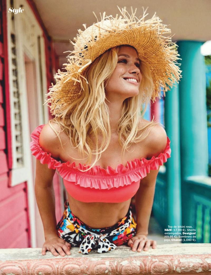 Maggie Rawlins Embraces Tropical Fashion for Cosmopolitan Spain