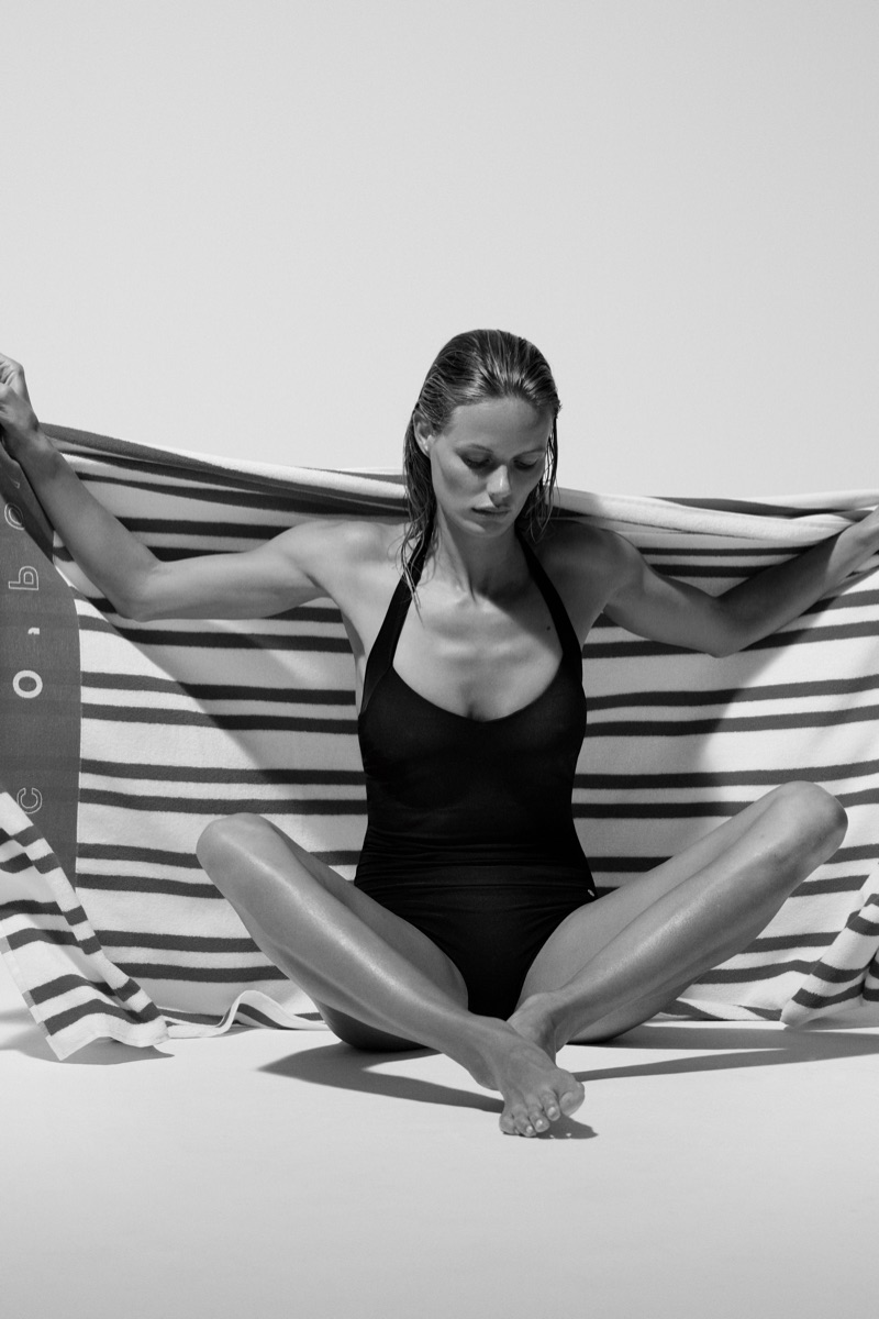 Marlijn Hoek wears black swimsuit in Marc O'Polo Body + Beach 2019 campaign