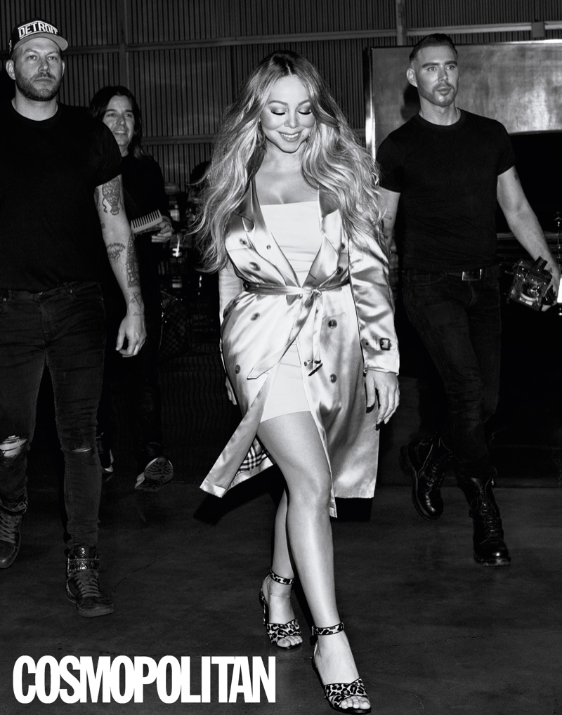 Mariah Carey wears Burberry trench coat, Intimissimi dress and Laurence Dacade heels