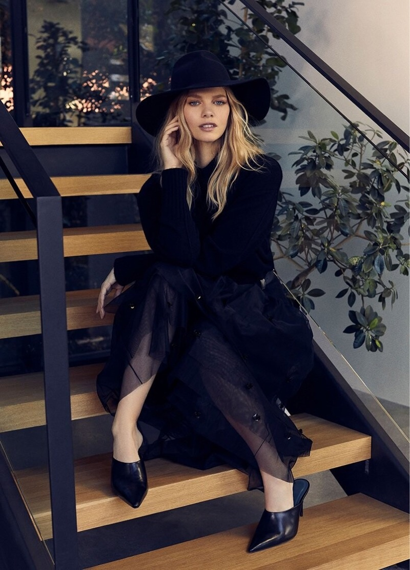 Dressed in black, Marloes Horst fronts 360 Cashmere fall-winter 2019 campaign