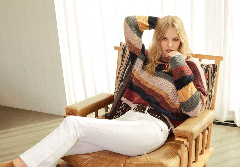 Model Marloes Horst wears stripes in 360 Cashmere fall-winter 2019 campaign