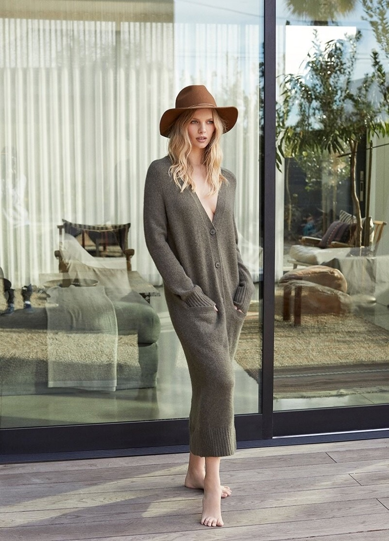 360 Cashmere features Gabriella long cardigan in fall 2019 campaign