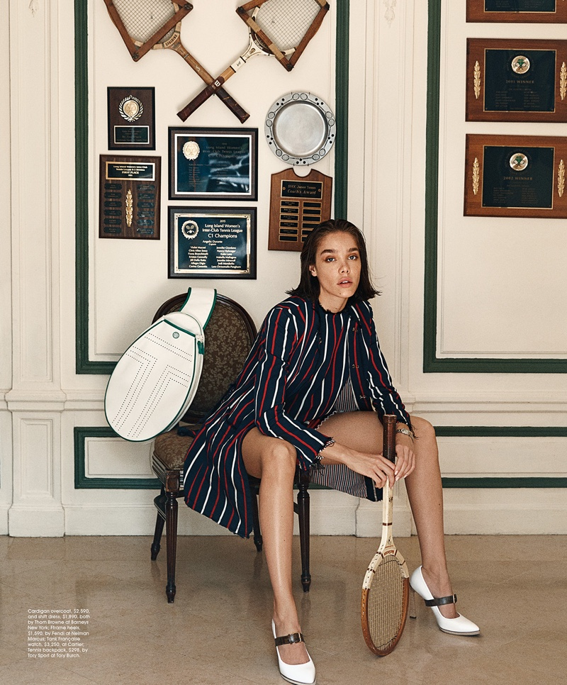 Michelle Dantas Tries On Tennis Inspired Looks for Modern Luxury