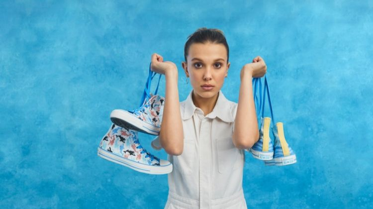 Actress Millie Bobby Brown poses with Converse sneaker collaboration