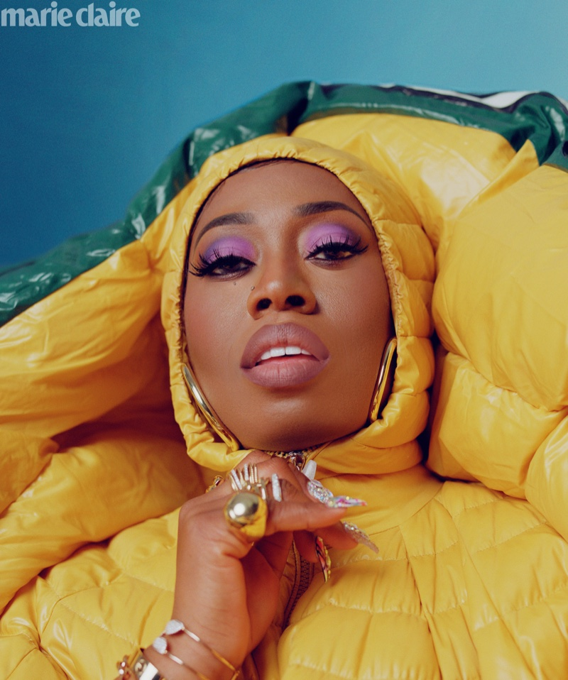 Ready for her closeup, Missy Elliott wears Moncler Pierpaolo Piccioli quilted dress