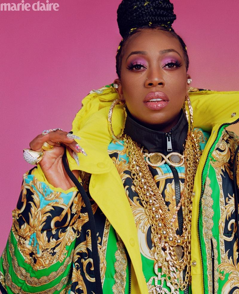 Missy Elliott wears Versace puffer coat and jacket