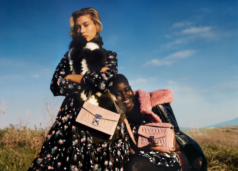 Hailey Baldwin and Adut Akech star in Miu Miu fall-winter 2019 campaign