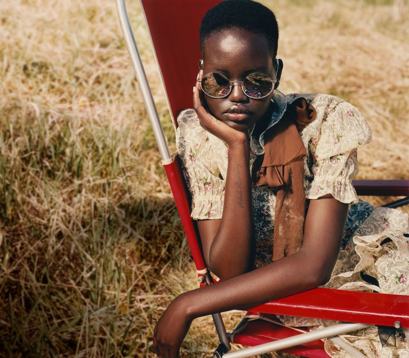 Model Adut Akech poses for Miu Miu fall-winter 2019 campaign