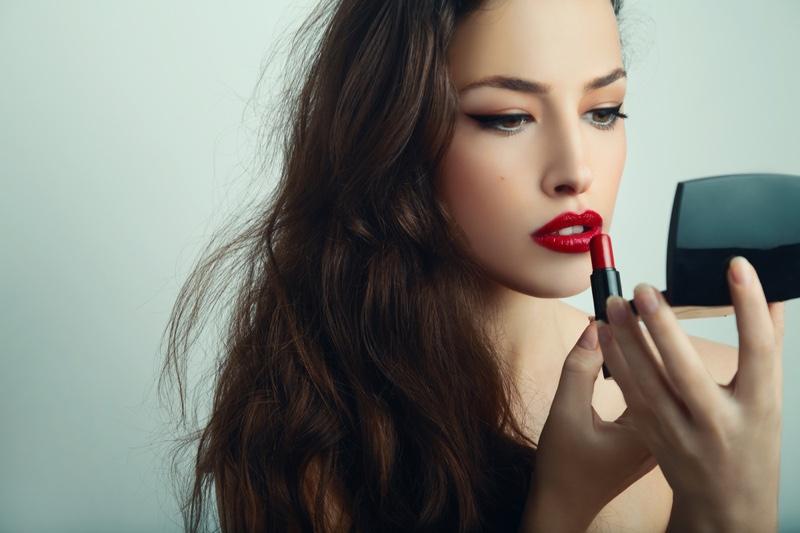 Model Brunette Red Lipstick Compact Mirror