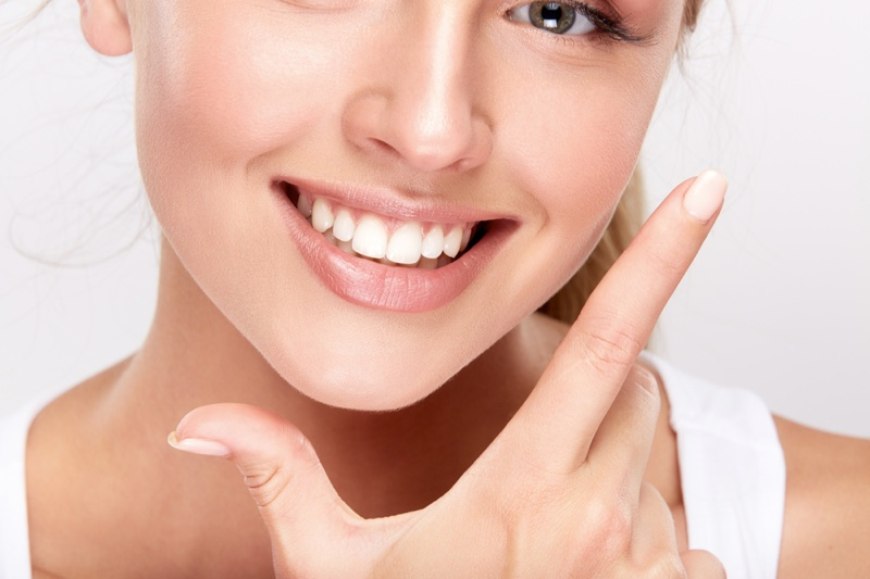 Model Closeup Smiling White Teeth Natural Beauty