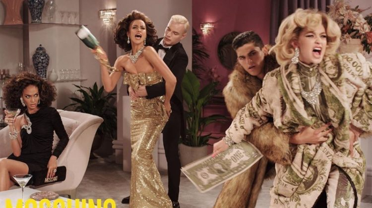 Joan Smalls, Irina Shayk and Gigi Hadid star in Moschino fall 2019 campaign