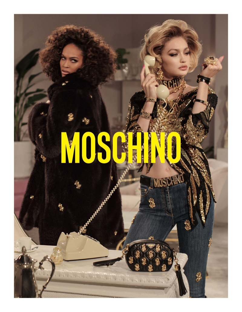 Joan Smalls and Gigi Hadid appear in Moschino fall-winter 2019 campaign
