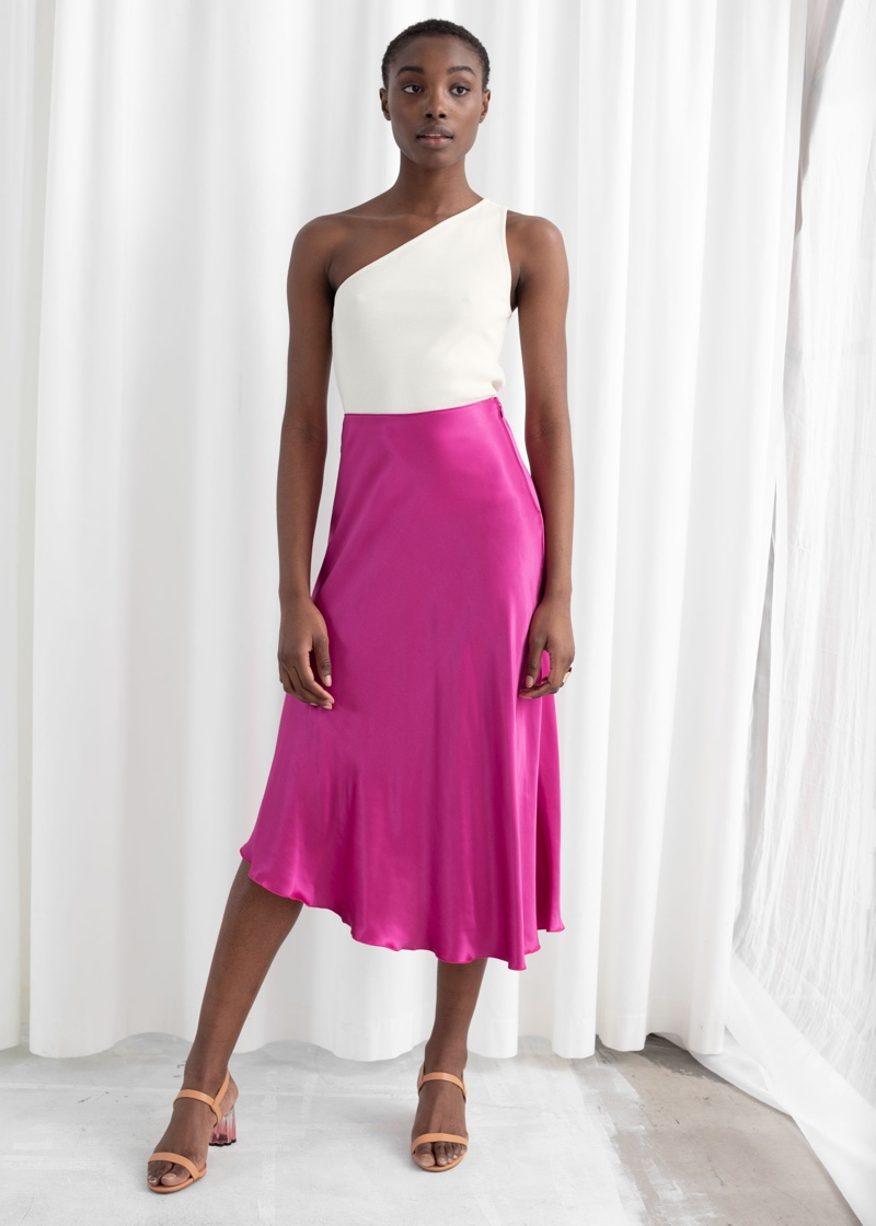 & Other Stories Asymmetrical Satin Midi Skirt in Pink $79