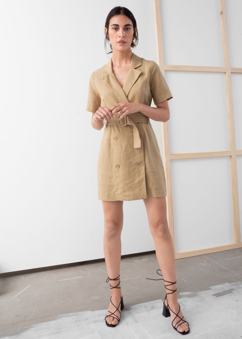 & Other Stories Belted Linen Trench Mini Dress $119