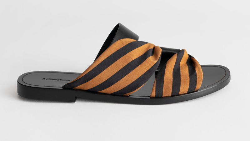 & Other Stories Draped Stripe Cross Leather Sandals $79