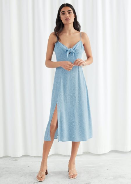 & Other Stories Knotted A-Line Midi Slit Dress in Blue Dots $89