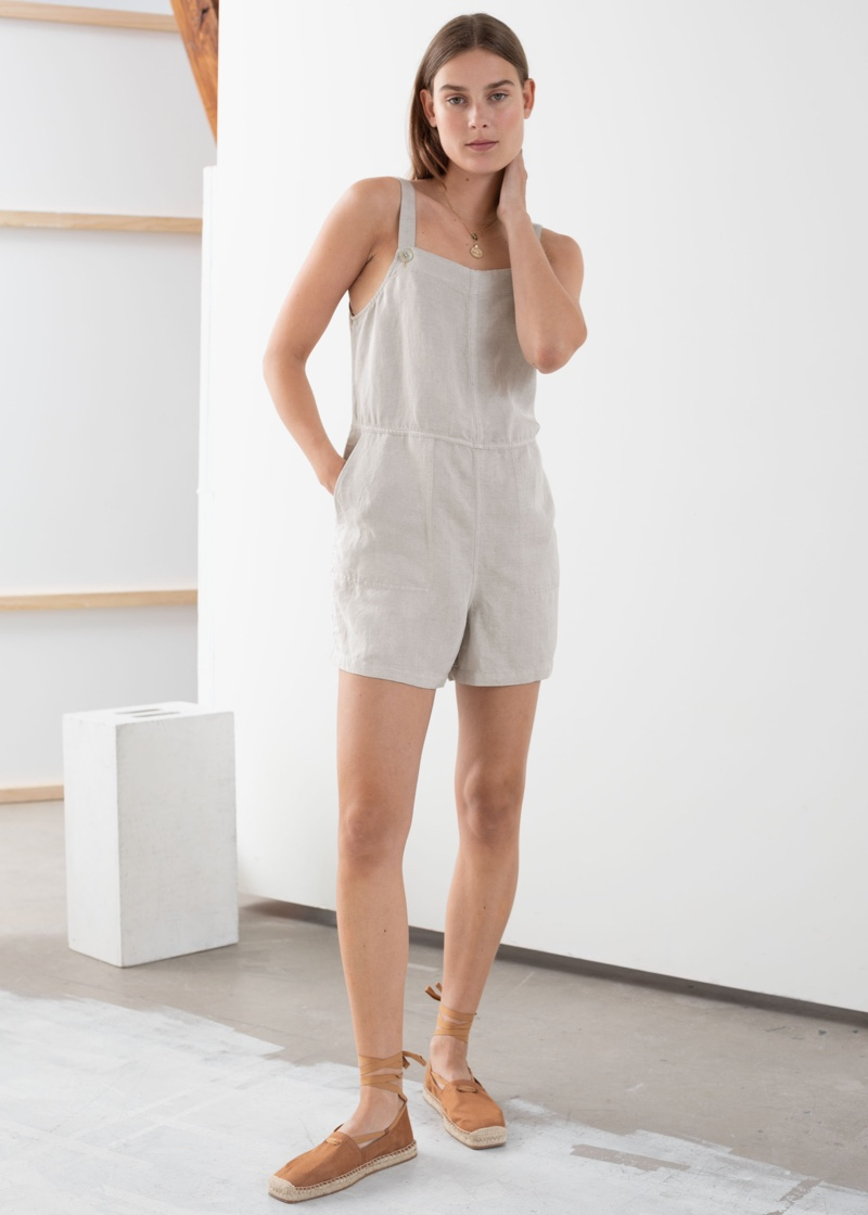 & Other Stories Linen Blend Romper Overall $59