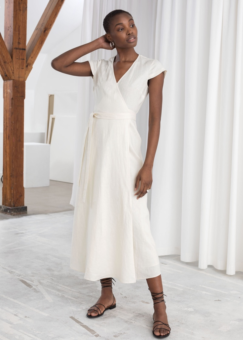 & Other Stories Linen Midi Wrap Dress $129