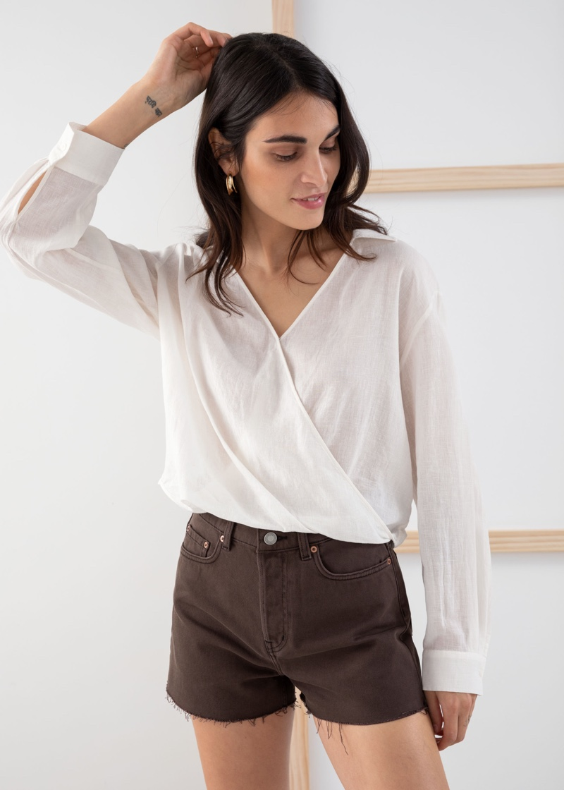 & Other Stories Lyocell Linen Blend Wrap Top $89