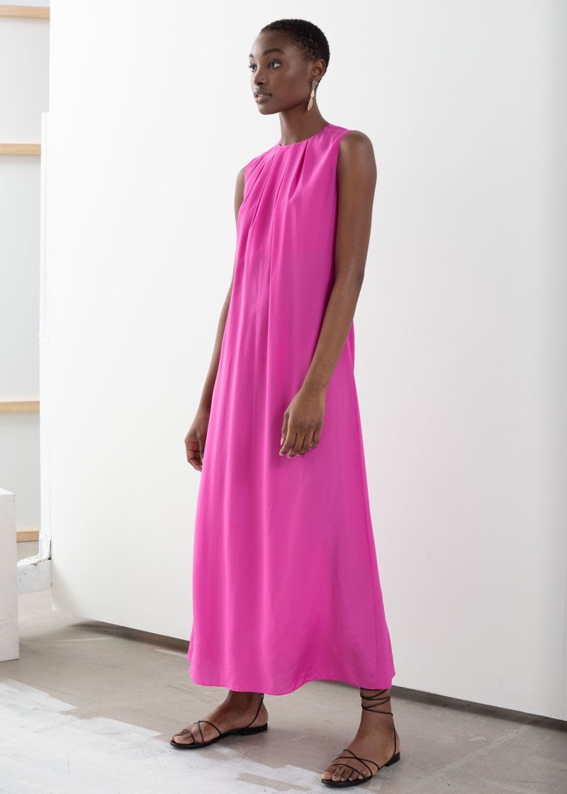 & Other Stories Open Tie Back Midi Dress in Pink $119