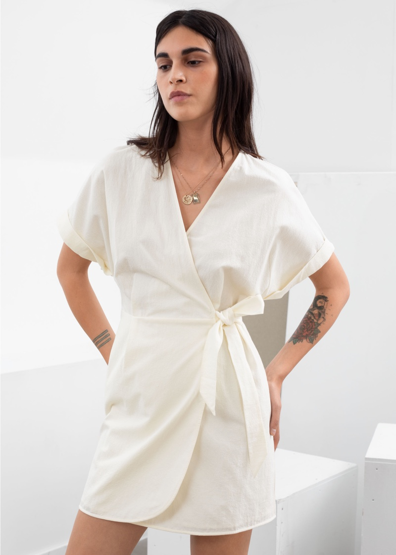 & Other Stories Organic Cotton Wrap Mini Dress $59