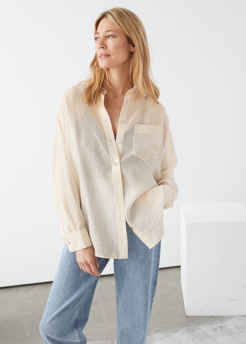 & Other Stories Oversized Button Up Shirt in Creme $89