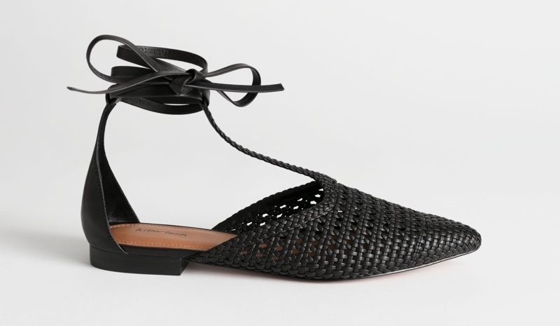 & Other Stories Pointed Woven Leather Lace Up Flats $129