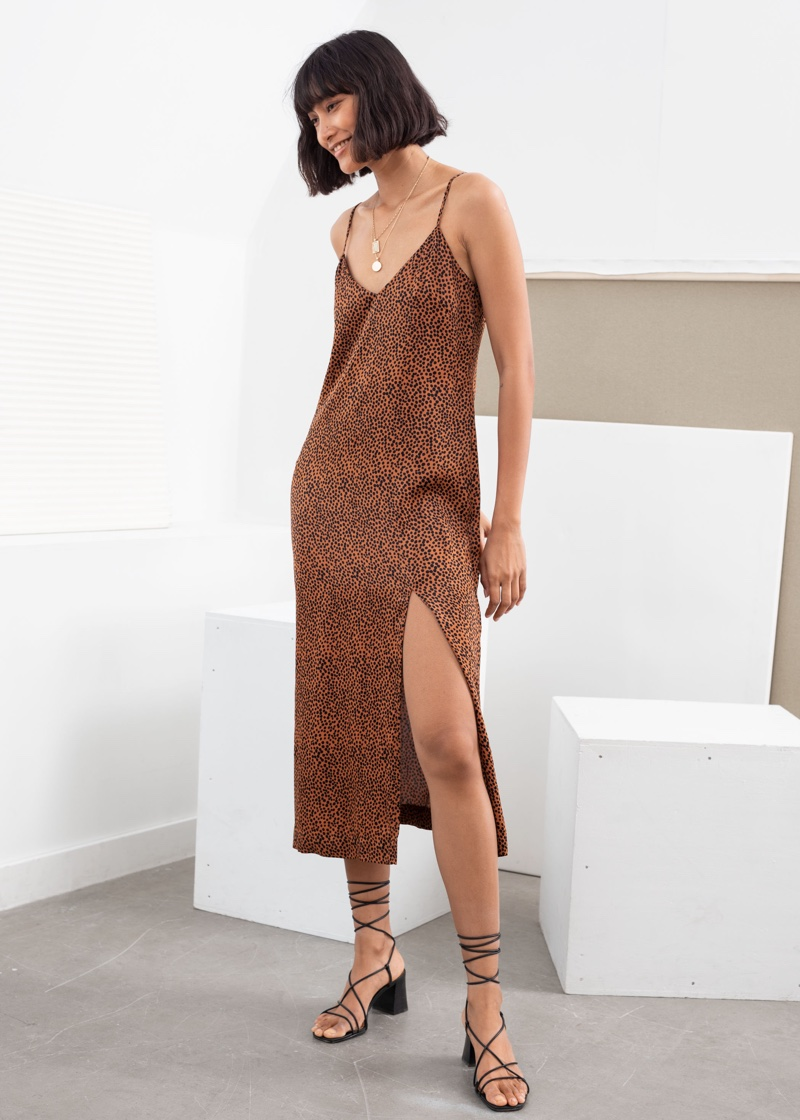 & Other Stories Printed Midi Slip Dress in Rust Dot $99