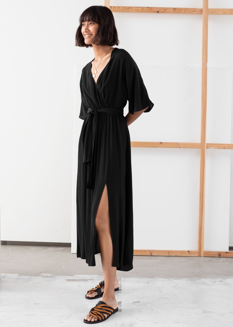 & Other Stories Side Slit Midi Wrap Dress $89