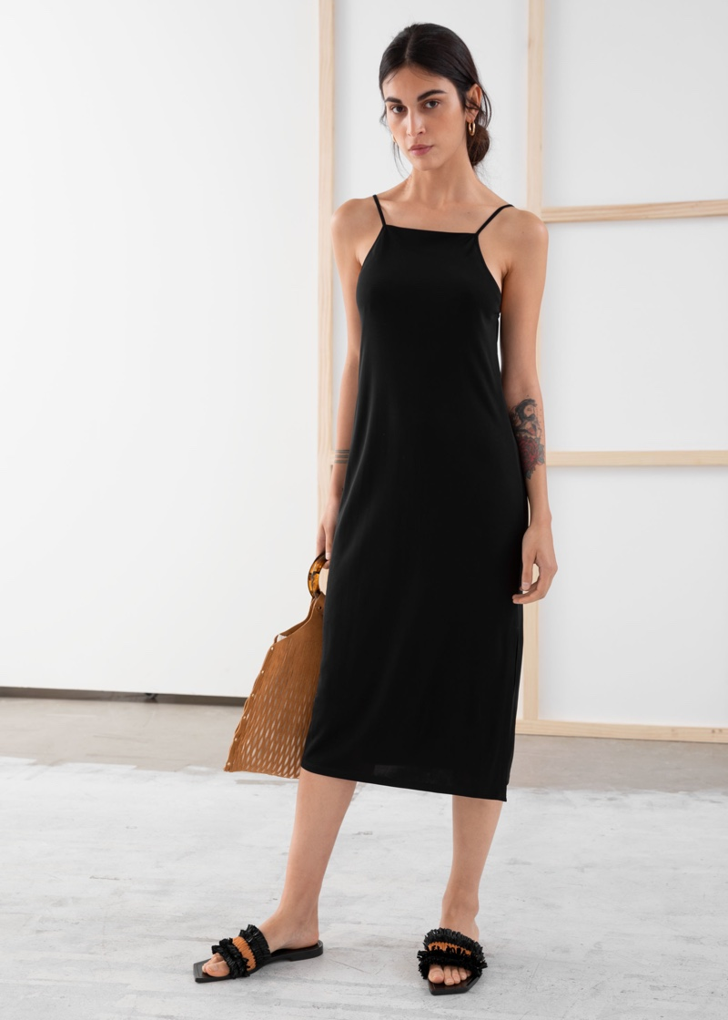 & Other Stories Square Neck Midi Slip Dress $69