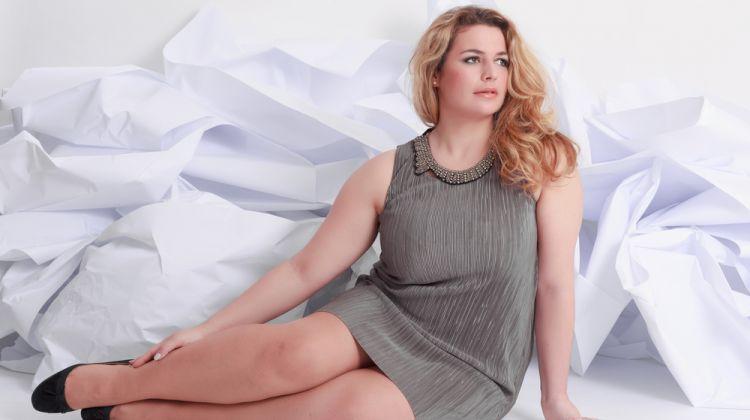 Plus Size Model Sleeveless Dress